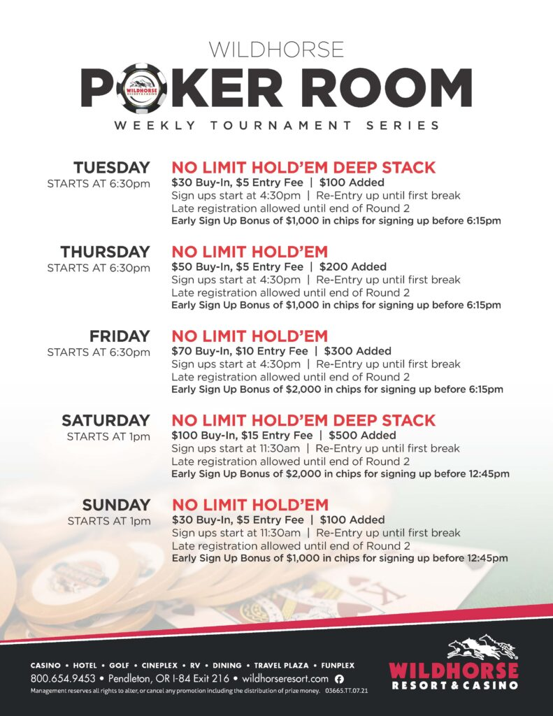 2021 Weekly Poker Schedule