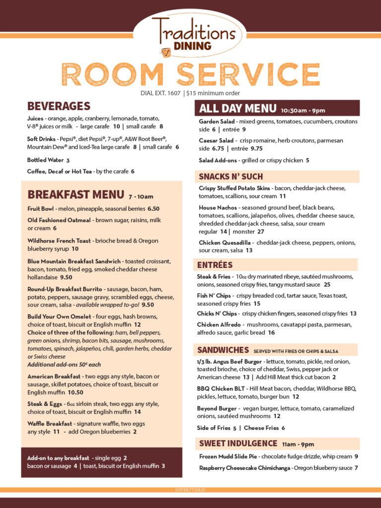 Room Service Menu September 2021